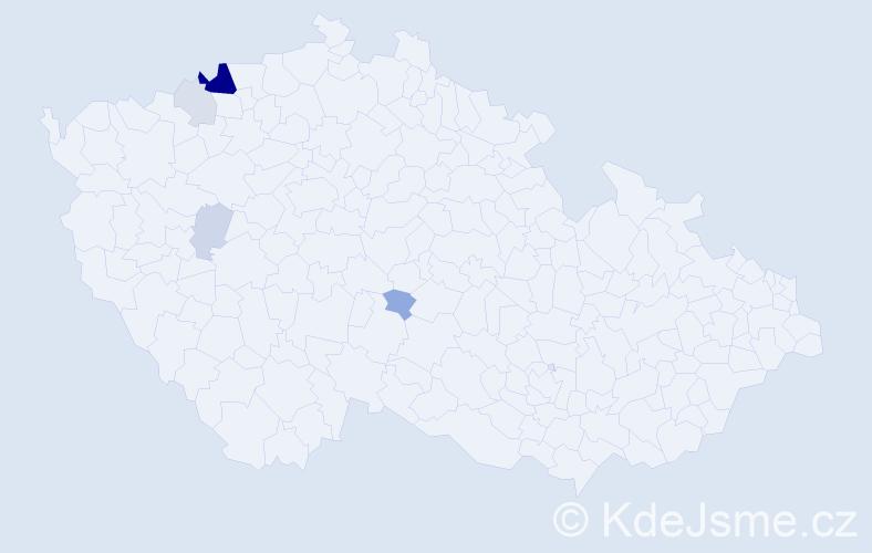 Příjmení: 'Kendrala', počet výskytů 15 v celé ČR