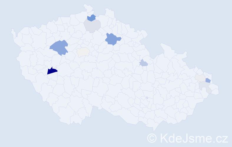 Příjmení: 'Hofrichtr', počet výskytů 25 v celé ČR