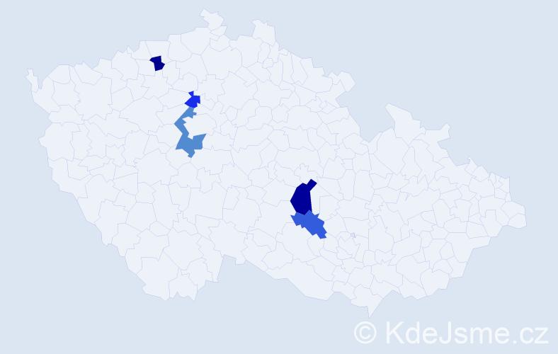 Příjmení: 'Deket', počet výskytů 7 v celé ČR