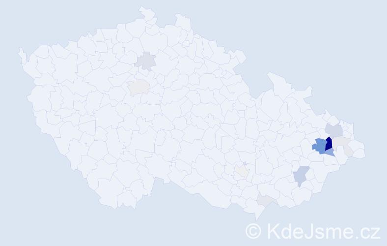 Příjmení: 'Bolomová', počet výskytů 53 v celé ČR