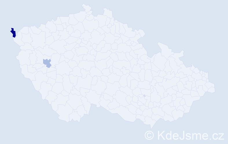 Příjmení: 'Kajkavacová', počet výskytů 2 v celé ČR