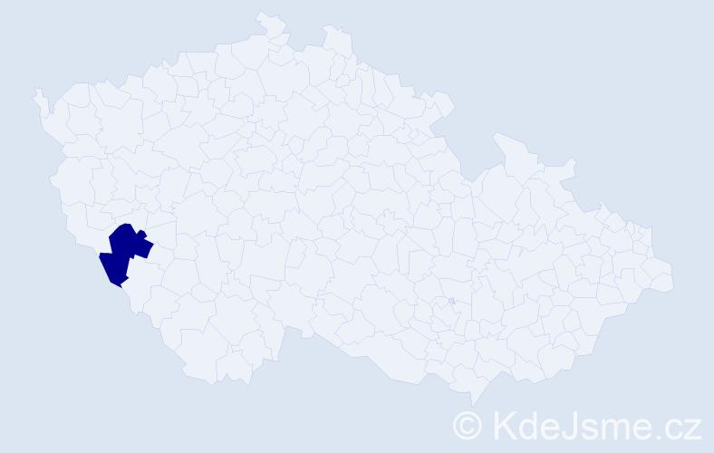 """Příjmení: '""""Česáková Houbová""""', počet výskytů 1 v celé ČR"""