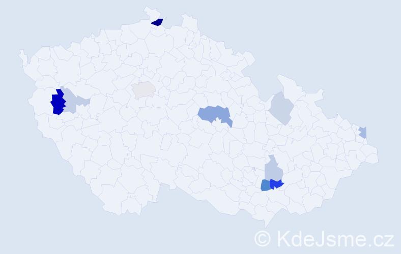 Příjmení: 'Galatová', počet výskytů 22 v celé ČR