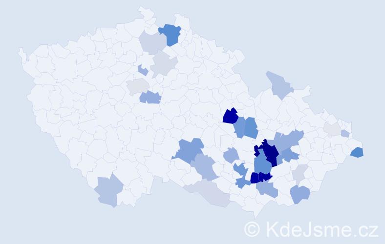 Příjmení: 'Gamba', počet výskytů 100 v celé ČR