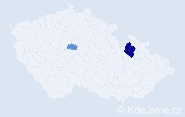 Příjmení: 'Godalová', počet výskytů 4 v celé ČR