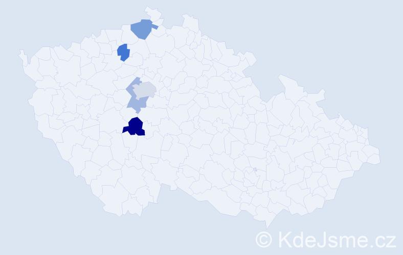 Příjmení: 'Bartiš', počet výskytů 15 v celé ČR