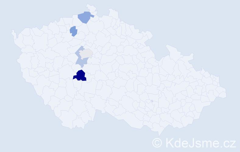 Příjmení: 'Bartišová', počet výskytů 19 v celé ČR