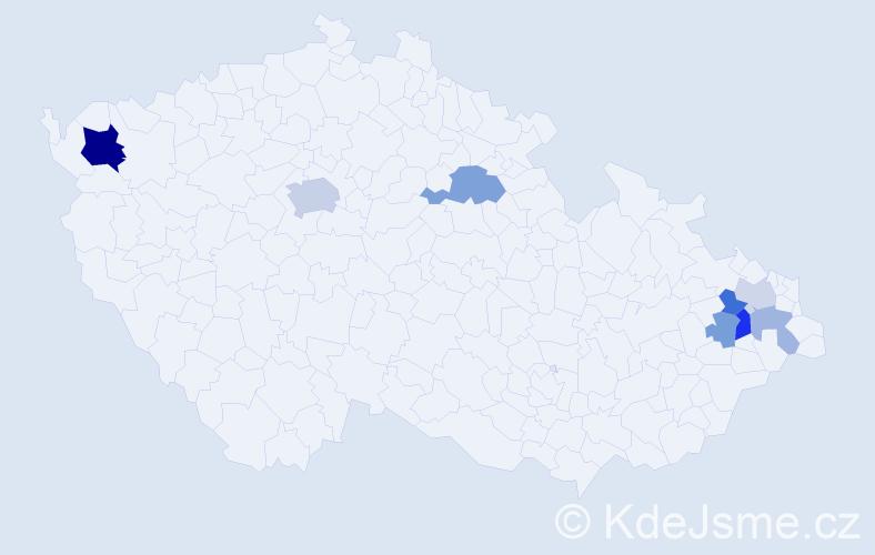 Příjmení: 'Lapčák', počet výskytů 17 v celé ČR
