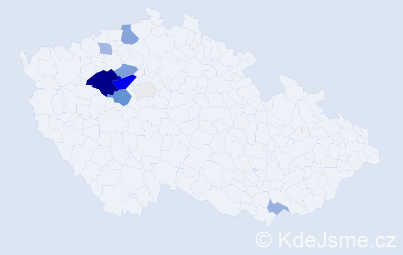 Příjmení: 'Bechnerová', počet výskytů 20 v celé ČR