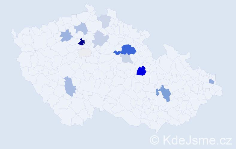 Příjmení: 'Grigelová', počet výskytů 27 v celé ČR