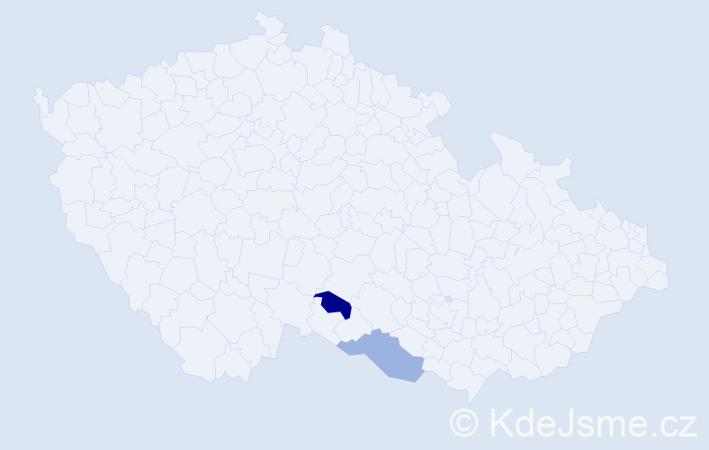 Příjmení: 'Calin', počet výskytů 2 v celé ČR