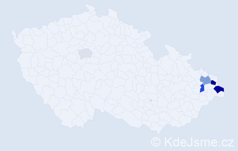 Příjmení: 'Farna', počet výskytů 9 v celé ČR