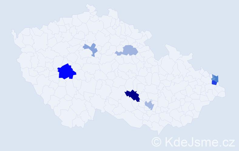 Příjmení: 'Čižmariková', počet výskytů 15 v celé ČR