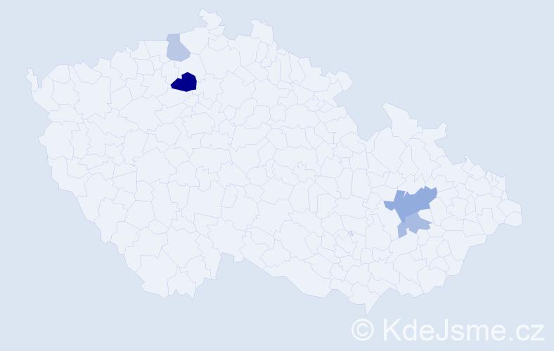 Příjmení: 'Derynek', počet výskytů 7 v celé ČR