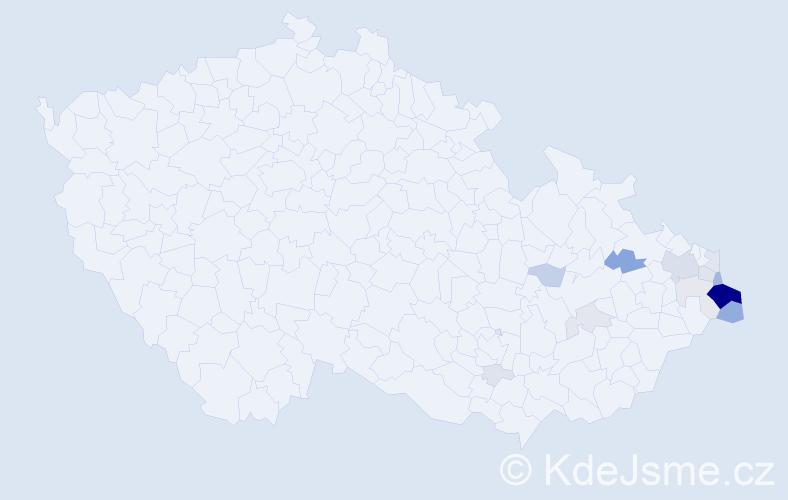 Příjmení: 'Haltof', počet výskytů 84 v celé ČR
