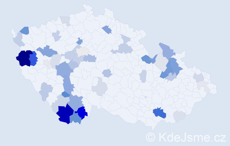 Příjmení: 'Gažák', počet výskytů 140 v celé ČR