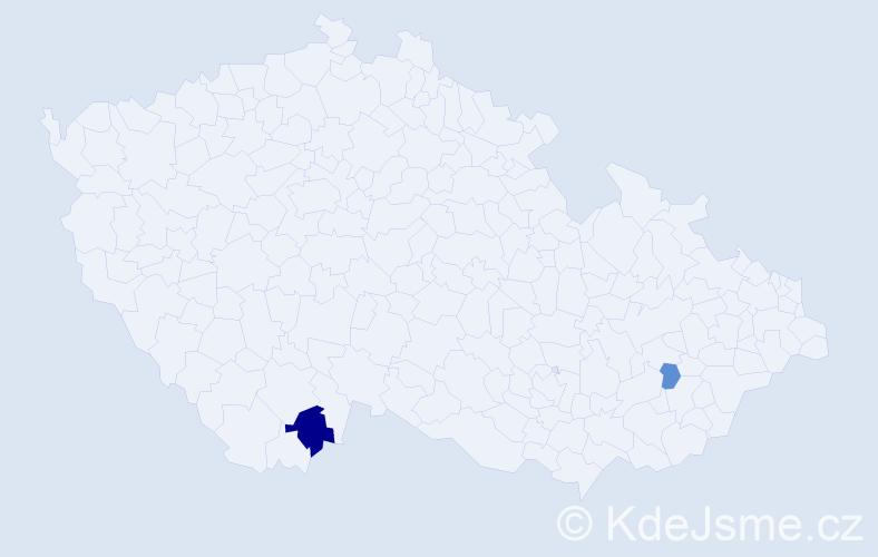 Příjmení: 'Cséfalvay', počet výskytů 6 v celé ČR
