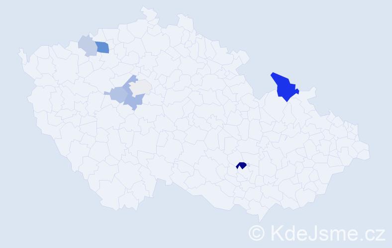 Příjmení: 'Chorváthová', počet výskytů 16 v celé ČR
