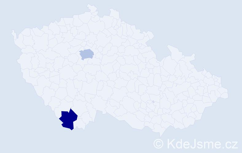 Příjmení: 'Garreau', počet výskytů 3 v celé ČR