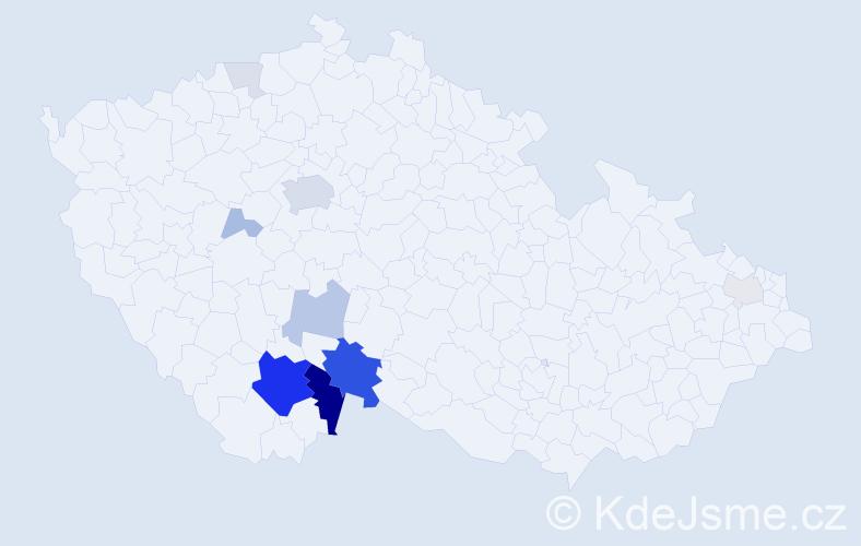 Příjmení: 'Bambule', počet výskytů 44 v celé ČR