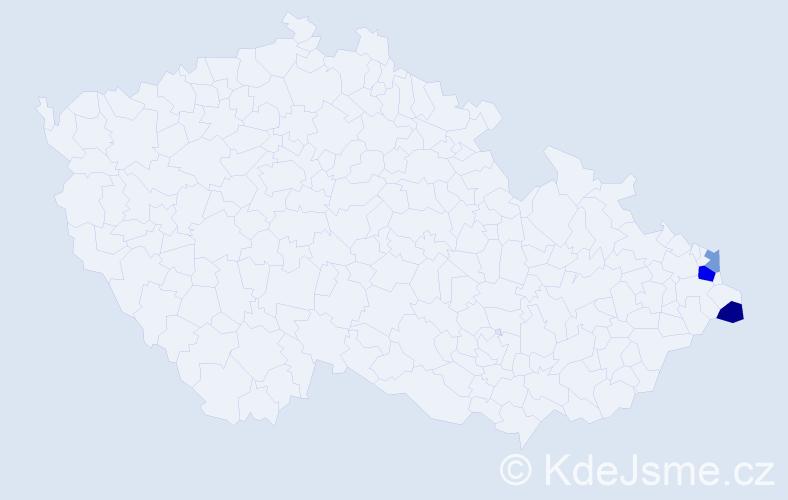 Příjmení: 'Baroniaková', počet výskytů 5 v celé ČR