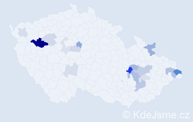Příjmení: 'Čepcová', počet výskytů 36 v celé ČR