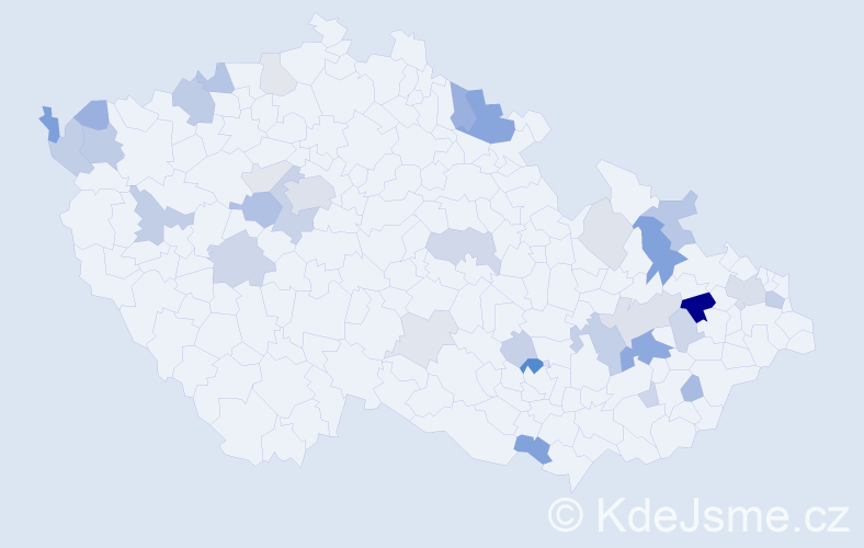 Příjmení: 'Bálint', počet výskytů 89 v celé ČR