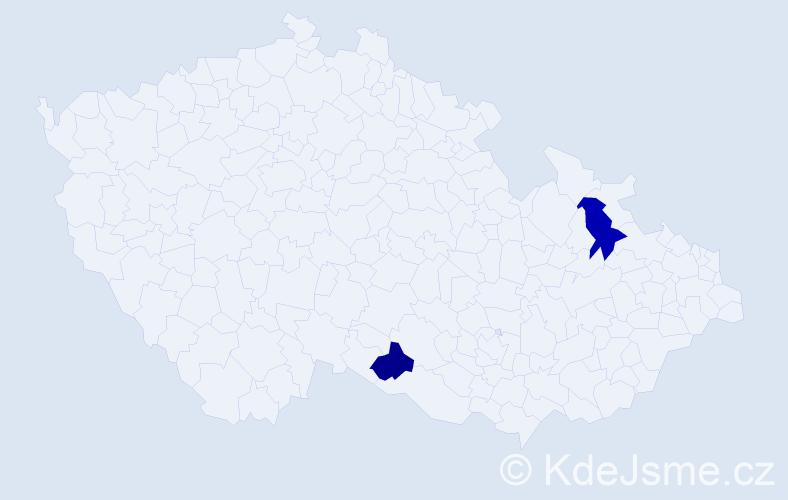 Příjmení: 'Abaffy', počet výskytů 5 v celé ČR