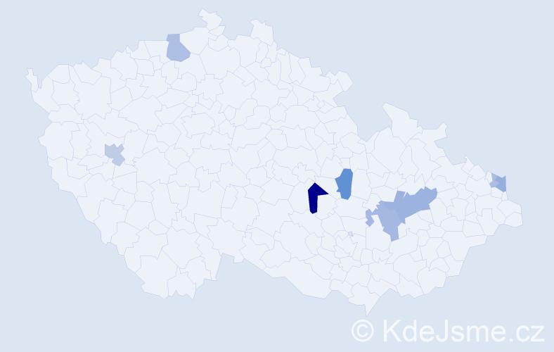 Příjmení: 'Knapčoková', počet výskytů 17 v celé ČR