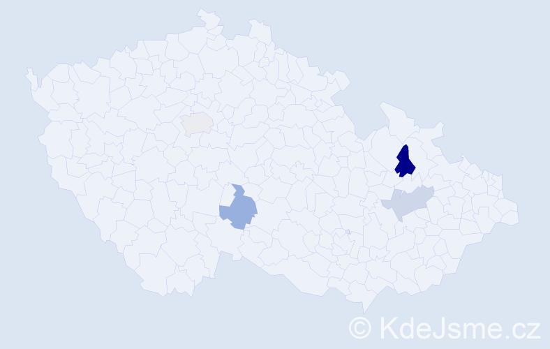 Příjmení: 'Görčiová', počet výskytů 5 v celé ČR