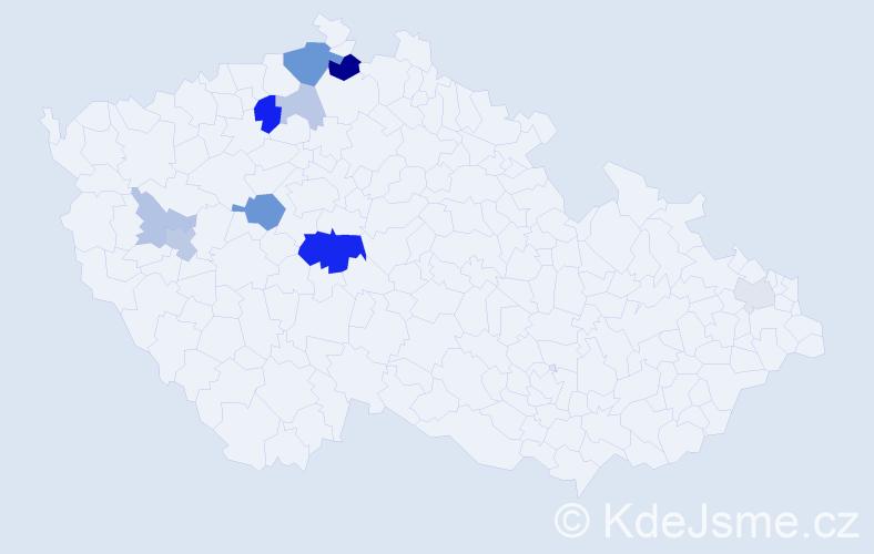 Příjmení: 'Jandač', počet výskytů 25 v celé ČR