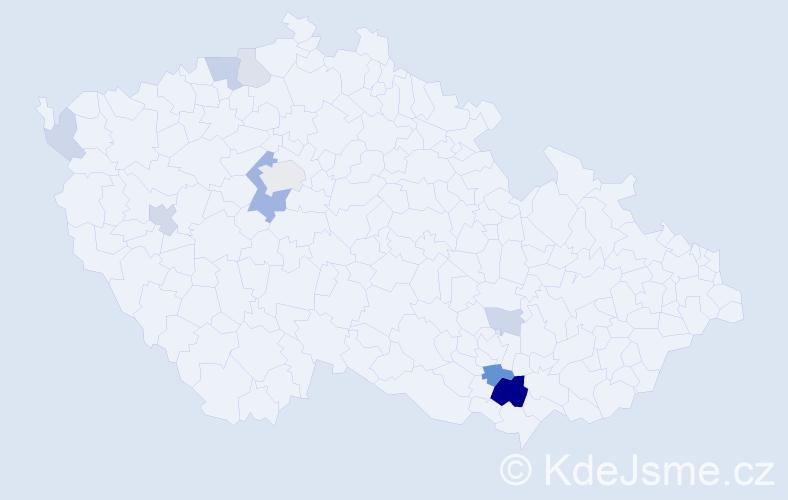 Příjmení: 'List', počet výskytů 26 v celé ČR