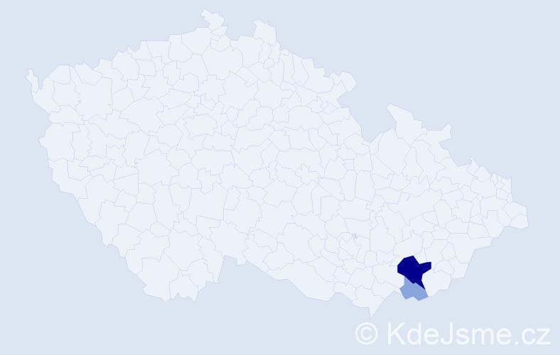Příjmení: 'Hrošík', počet výskytů 10 v celé ČR