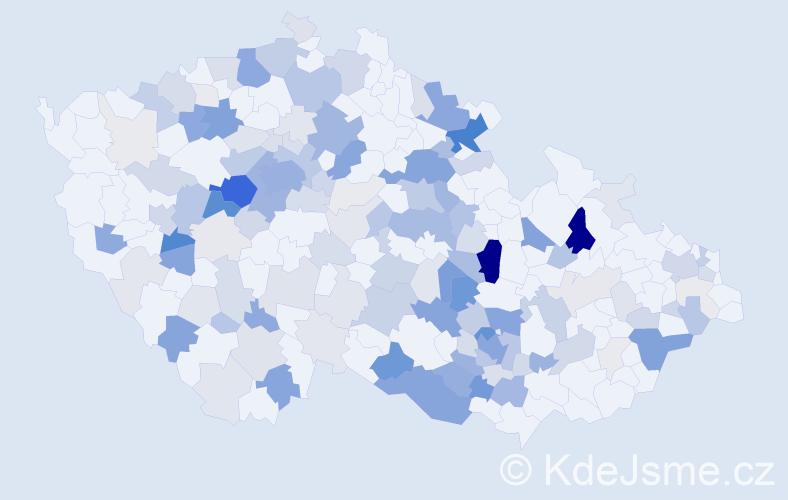 Příjmení: 'Kincl', počet výskytů 555 v celé ČR