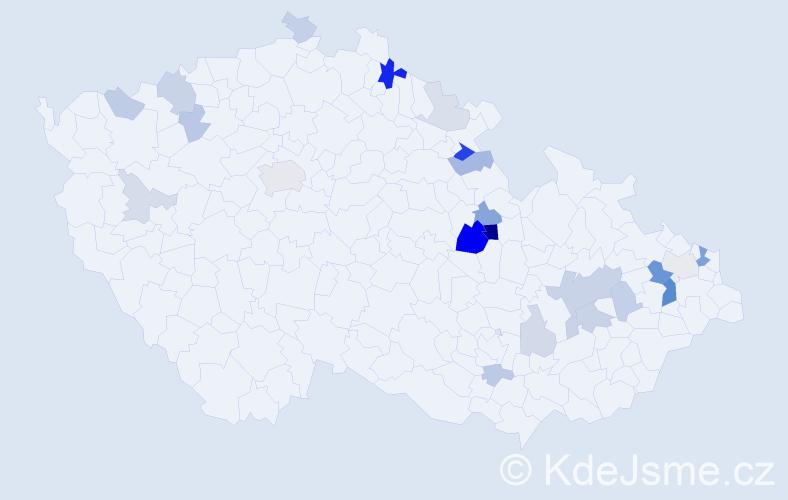 Příjmení: 'Adamský', počet výskytů 58 v celé ČR