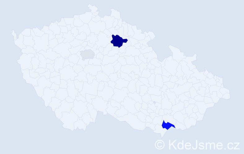Příjmení: 'Dubas', počet výskytů 5 v celé ČR