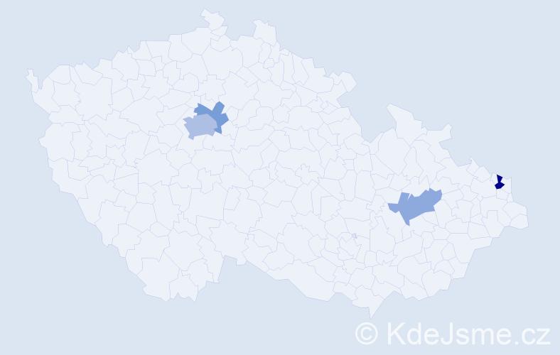 Příjmení: 'Basovníček', počet výskytů 8 v celé ČR