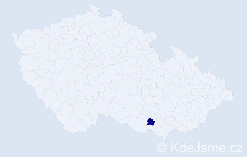 """Příjmení: '""""Lachová Šmidová""""', počet výskytů 1 v celé ČR"""