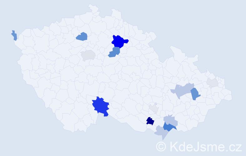 Příjmení: 'Bognár', počet výskytů 35 v celé ČR