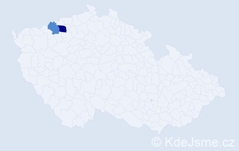 Příjmení: 'Jelenčič', počet výskytů 3 v celé ČR