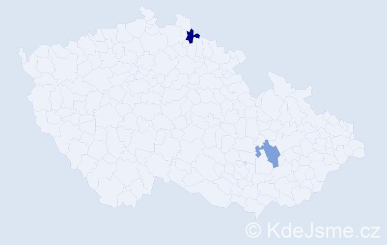 Příjmení: 'Hariková', počet výskytů 4 v celé ČR