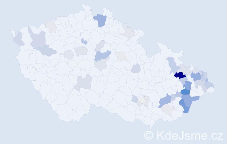 Příjmení: 'Hruboňová', počet výskytů 144 v celé ČR