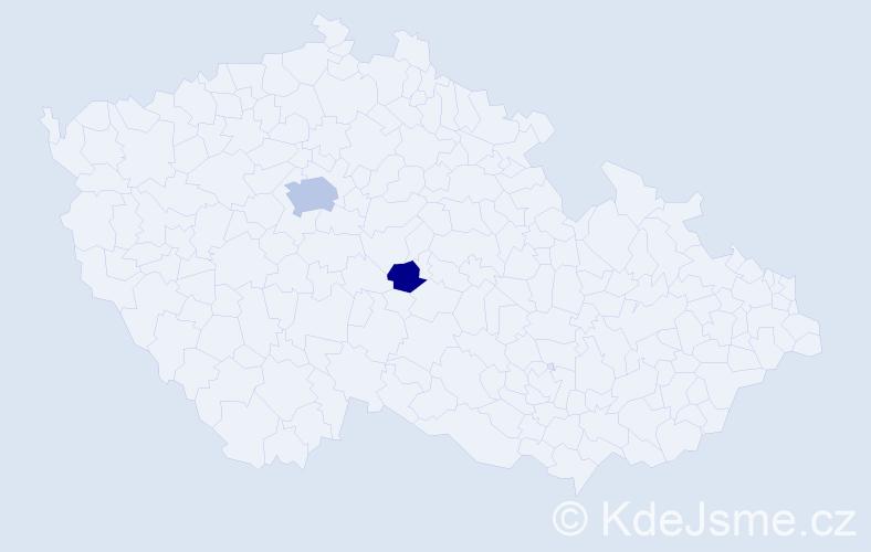 Příjmení: 'Effová', počet výskytů 5 v celé ČR