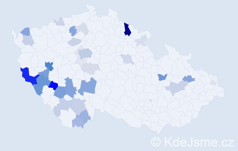 Příjmení: 'Jehlíková', počet výskytů 110 v celé ČR