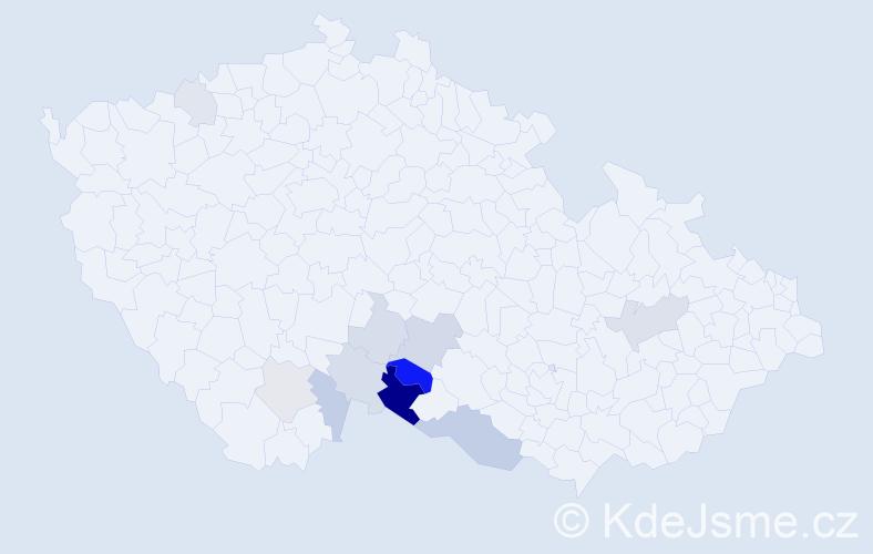 Příjmení: 'Hudínková', počet výskytů 24 v celé ČR