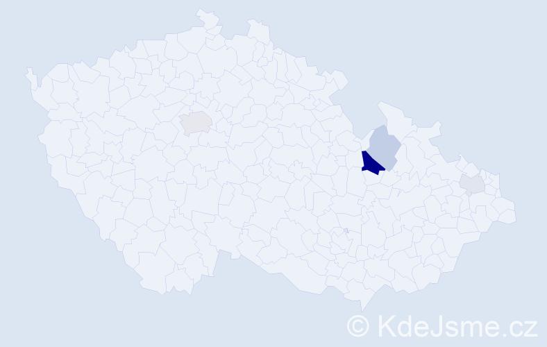 Příjmení: 'Enterová', počet výskytů 9 v celé ČR