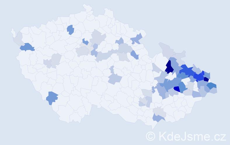 Příjmení: 'Krečmerová', počet výskytů 249 v celé ČR