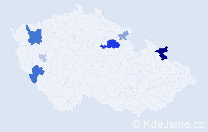 Příjmení: 'Domek', počet výskytů 15 v celé ČR