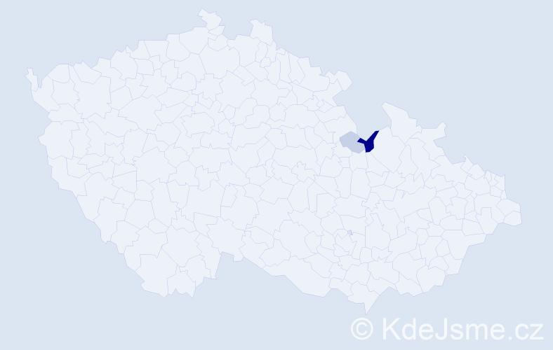 Příjmení: 'Apač', počet výskytů 9 v celé ČR