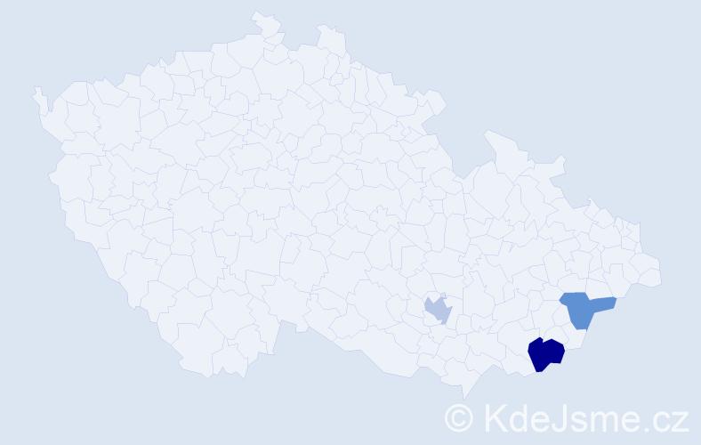 Příjmení: 'Enderesová', počet výskytů 4 v celé ČR